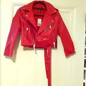 Forever 21 Brand New Red Faux Leather Jacket. S